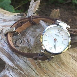 Fossil Georgia ES6861 Brown/Silver Watch